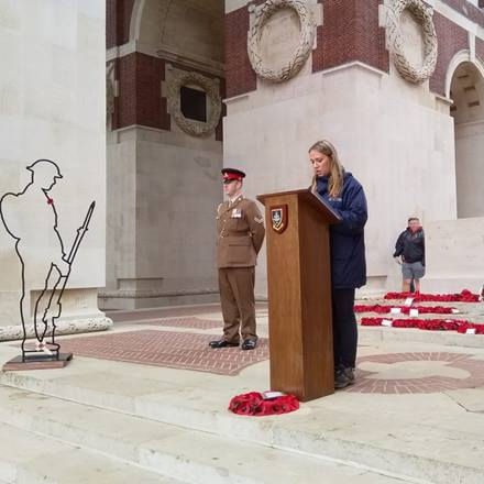 Olivia Smith giving a reading at the Thiepval Memorial