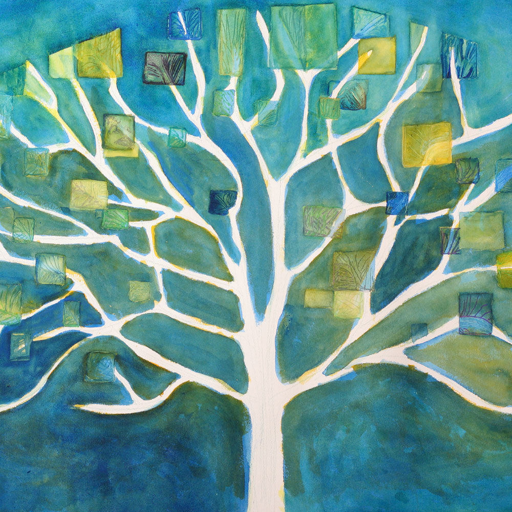 Painting of a tree on a blue background