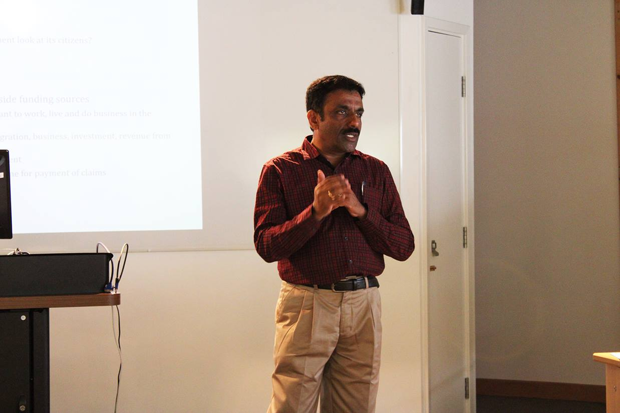 Professor Ram Mohan, from the Institute of Management in Government, Kerala, India, discussing a point about Balanced score card in the state of Kerala, India