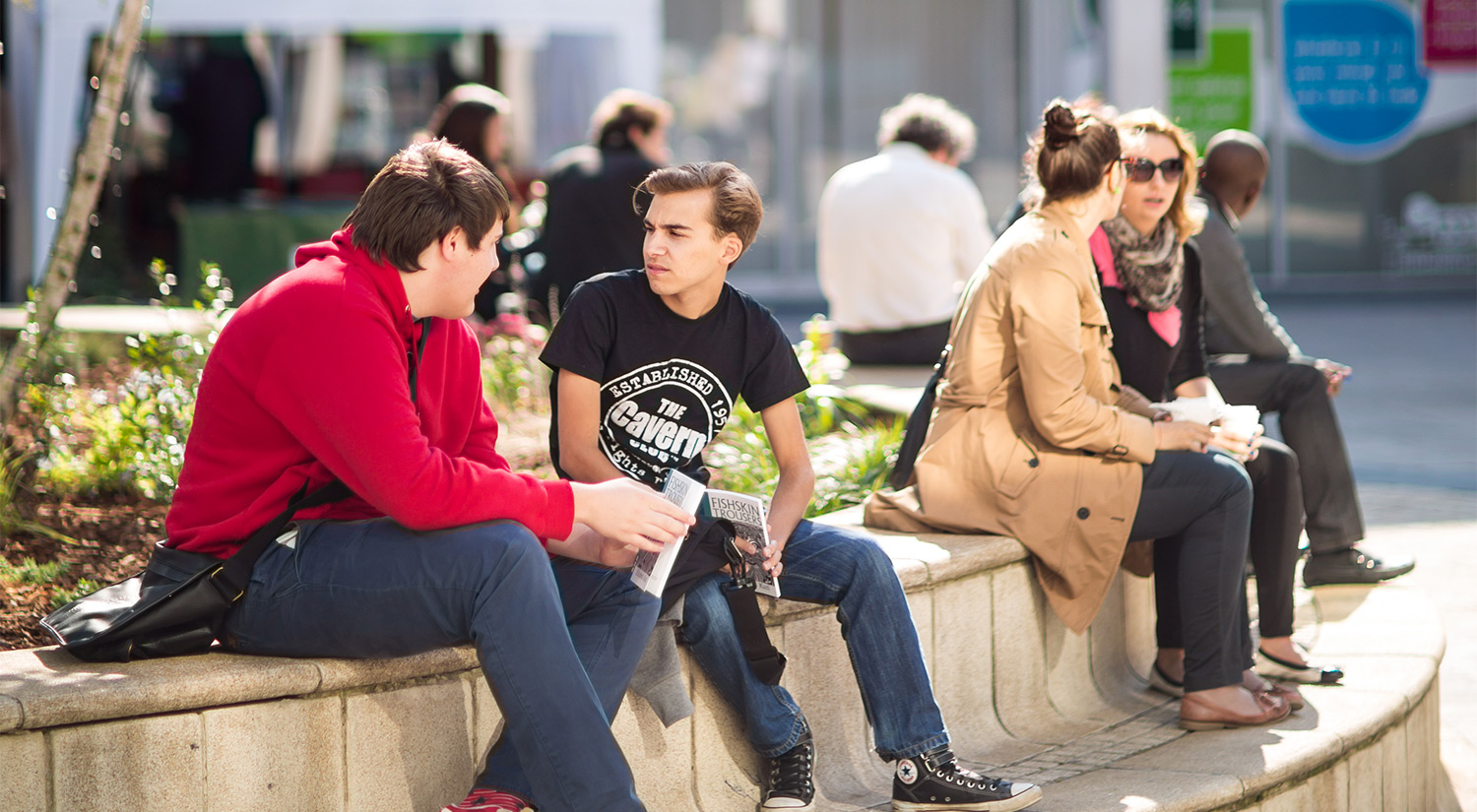 Our campus squares are a great place to meet up with friends.